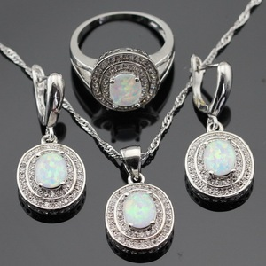 Image 1 - Australia White Opal Silver Color Jewelry Sets For Women Christmas Cubic Zirconia Necklace Pendant Drop Earrings Rings Gift Box