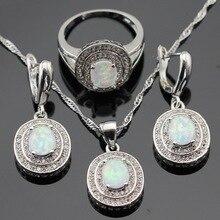 Juegos de joyas para mujer de ópalo blanco australiano, Color plata, collar de Zirconia cúbica de Navidad, Pendientes colgantes, anillos, caja de regalo