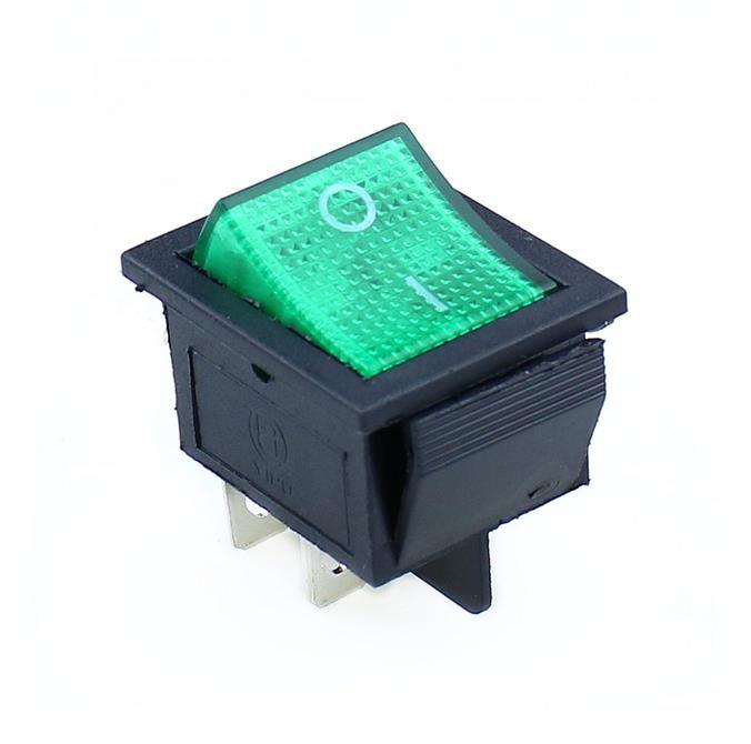 KCD4 кулисный переключатель ВКЛ-ВЫКЛ 2 положения 4 контакта/6 контактов электрооборудование с светильник выключатель питания 16A 250VAC/20A 125VAC - Цвет: green