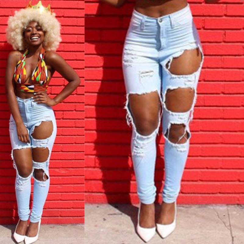Streetwear Beggar Big Hole Ripped Distressed Jeans For Women Skinny High Waist Destroyed Jeans Cool Broken Hollow Out Denim Pant