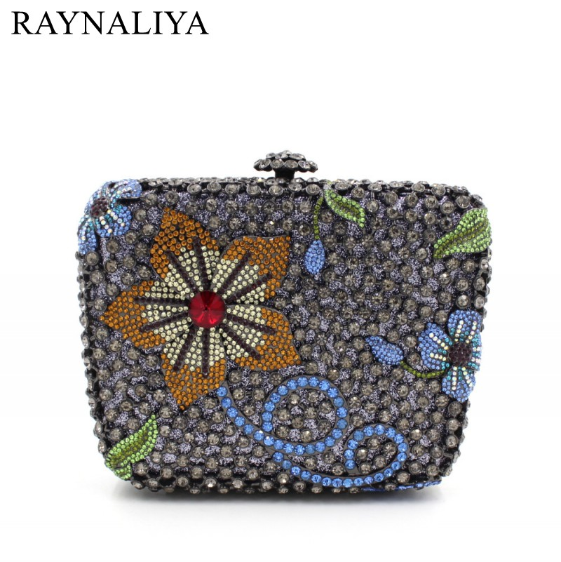 Women Flower Crystal Bags Ladies Evening Bag High Quality Female Colorful Clutch Purses Lady Wedding Handbag SMYZH-F0282 milisente high quality luxury crystal evening bag women wedding purses lady party clutch handbag green blue gold white