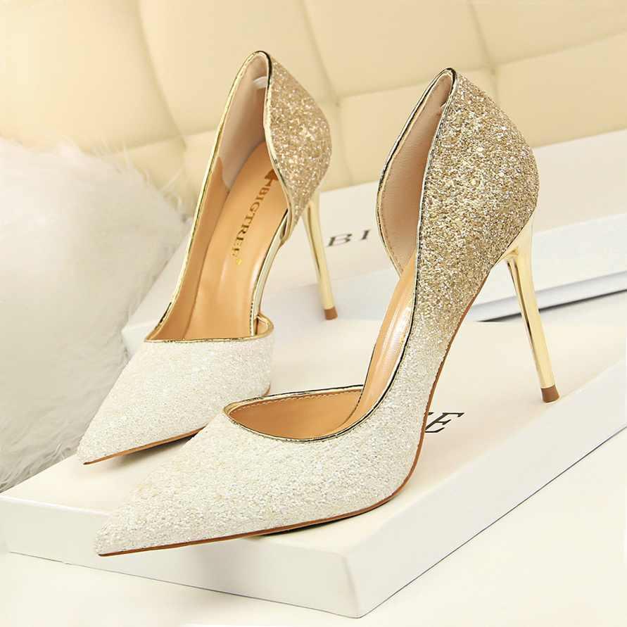 BIGTREE aşırı kadın pompaları Bling düğün ayakkabı seksi yüksek topuklu Stiletto degrade kadın topuk ayakkabı moda parti ayakkabı pompaları