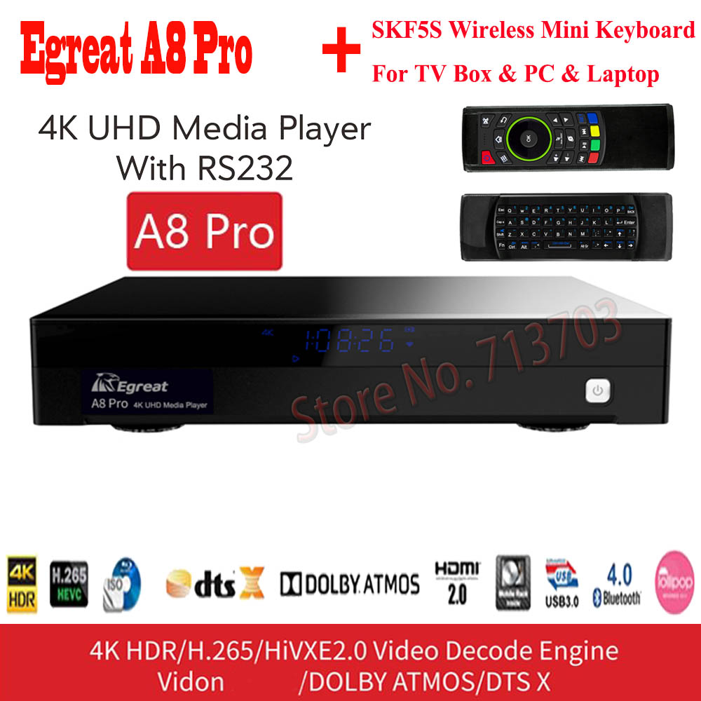 Egreat A8 Pro 4K UHD HDD Media Player Support Blu-ray Drive 3D Movie Play DTS & Dolby NSS 3.5