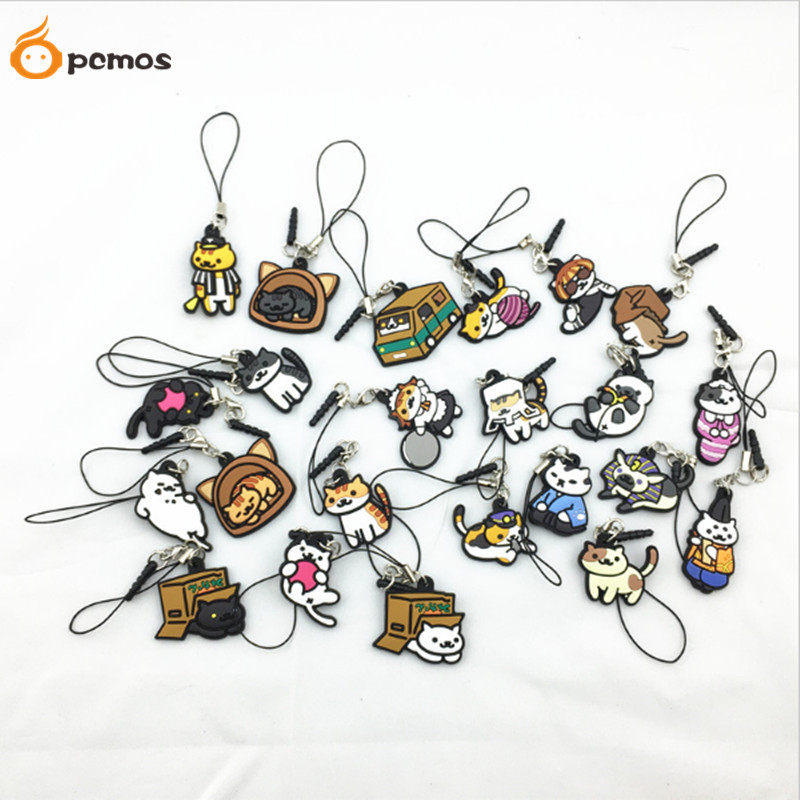 [PCMOS] Japanese Game Neko Atsume Cute 23pcs/set  Rubber Pendant Keychain Cat Backyard Phone Straps Dust Plug Gift Craft G024 kitty cat backyard neko atsume backpack comic periphery dual portable canvas shoulders bag cartoon accessory kids anime gift
