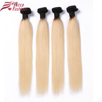 Wicca Fashion Ombre Peruvian Hair Straight Hair Bundles 1B 613 Ombre Blonde Non Remy Human Hair
