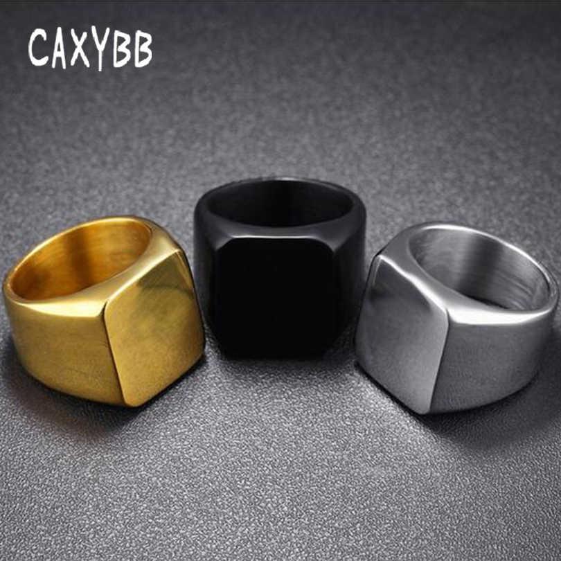 Caxybb เพรียวบางสแควร์แหวนผู้ชายธุรกิจเรียบชายเดี่ยวแฟชั่นสแควร์ gold สแตนเลสสีดำแหวน
