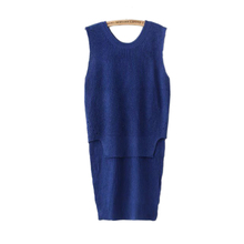 Europe autumn 2016 new women's fashion all-match before long and short in the long sweater sweater vest