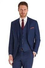 Custom Made Groom Tuxedo Navy Blue Groomsmen Notch Lapel Wedding/Dinner Suits Best Man Bridegroom (Jacket+Pants+Tie+Vest) B528
