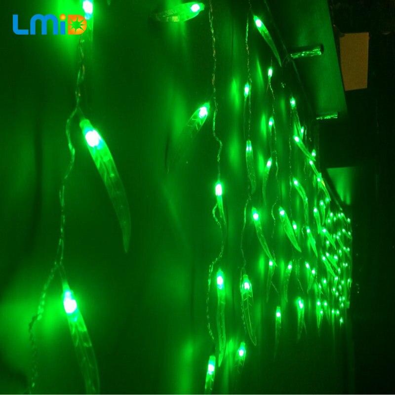 LMID Holiday Lights Fiestas Green Leaf Home Outdoor Christmas Decorative Wedding xmas String Fairy Curtain Garlands Strip Light