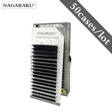 Nagarakuまつげエクステンションメイクcilios 50ケースs/ロット16行/ケース7〜15ミックス個別のまつげ天然、合成ミンクまつげ
