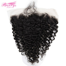 "TRANSPARENT Lace Frontal 13x6"" Deep Wave Brazilian Virgin Hair with Baby Hair Bleached Knots Preplucked Berrys Fashion Hair Weft(China)"