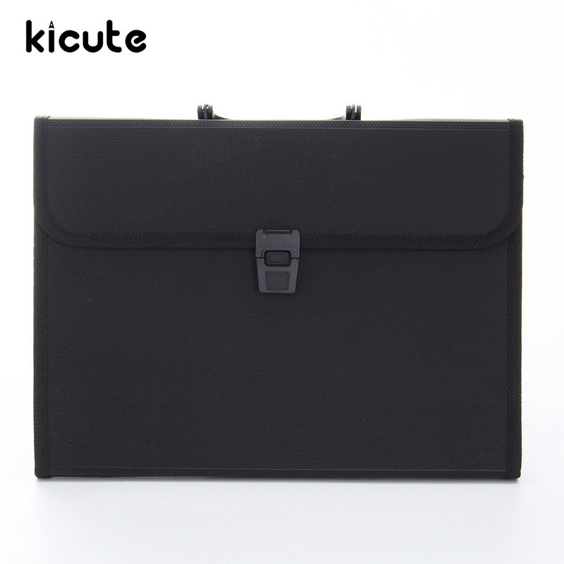 Kicute Portable Plastic Expanding File Briefcase Document Folder A4 Storage Bag Organizer Filing Rectangle Bag Office Supplies deli a4 folder 8 grids portable multi layer paper bag information package expanding wallet document bag school office supplies
