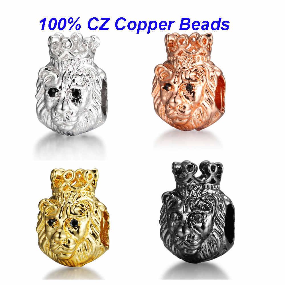 2 adet/grup aslan kral taç CZ boncuk mikro açacağı kübik zirkonya DIY Metal bakır aslan Spacer boncuk erkekler bilezik yapma VNISTAR