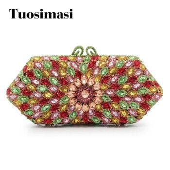 Newest colorful rhinestones Clutch Evening Bag Luxury Crystal diamante Clutch Bag for wedding Party purse handbag(88210-RG)