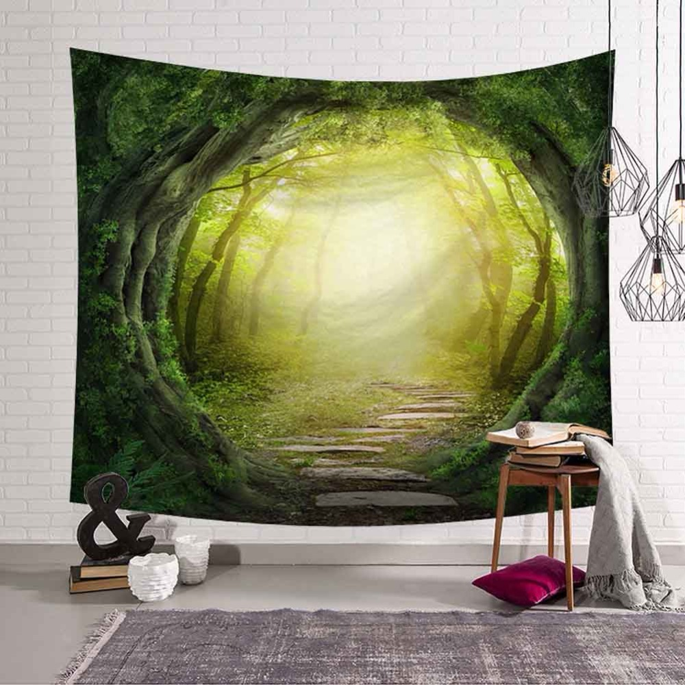 Two Dimensions Cartoon Psychedelic Forest Trees Tapestry Wall ...