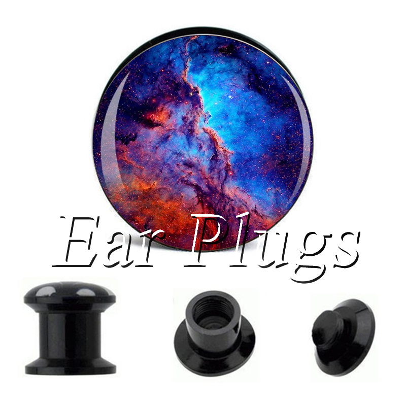 Wholesale Blue Galaxy plug gauges acrylic screw ear plug flesh tunnel piercing body jewelry
