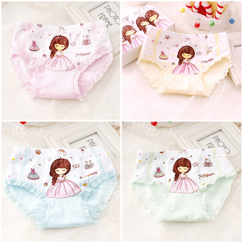 New 3 Pcs/set Cartoon Printed Girl Panties Kids Cute Underwear Children's Cotton Underwear For 2-9 Years Old Random Delivery
