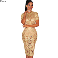 Gold Hollow Women Bodycon