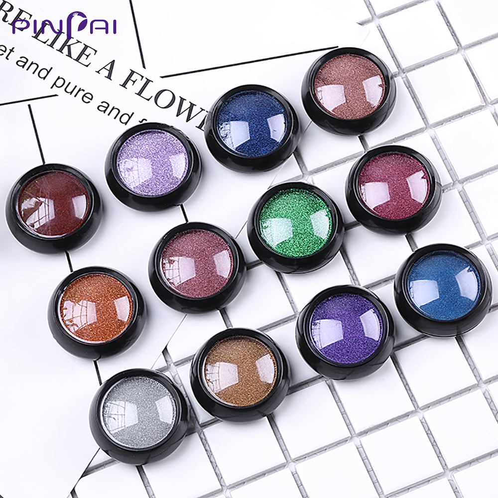 0 5g 12 Metallic Color Nail Mirror Glitter Powder Nail Art UV Gel Polishing Chrome Flakes Pigment Dust Decorations Manicure Tool in Nail Glitter from Beauty Health