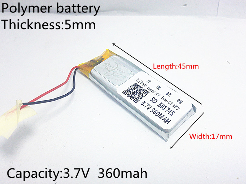 3.7V 360mAh 501745 Lithium Polymer LiPo Rechargeable Battery ion cells For Mp3 Mp4 Mp5 DIY PAD DVD E-book bluetooth headset 3 7v 12000mah 1640138 combination rechargeable lipo polymer lithium li ion battery for power bank tablet pc laptop pad pcm board