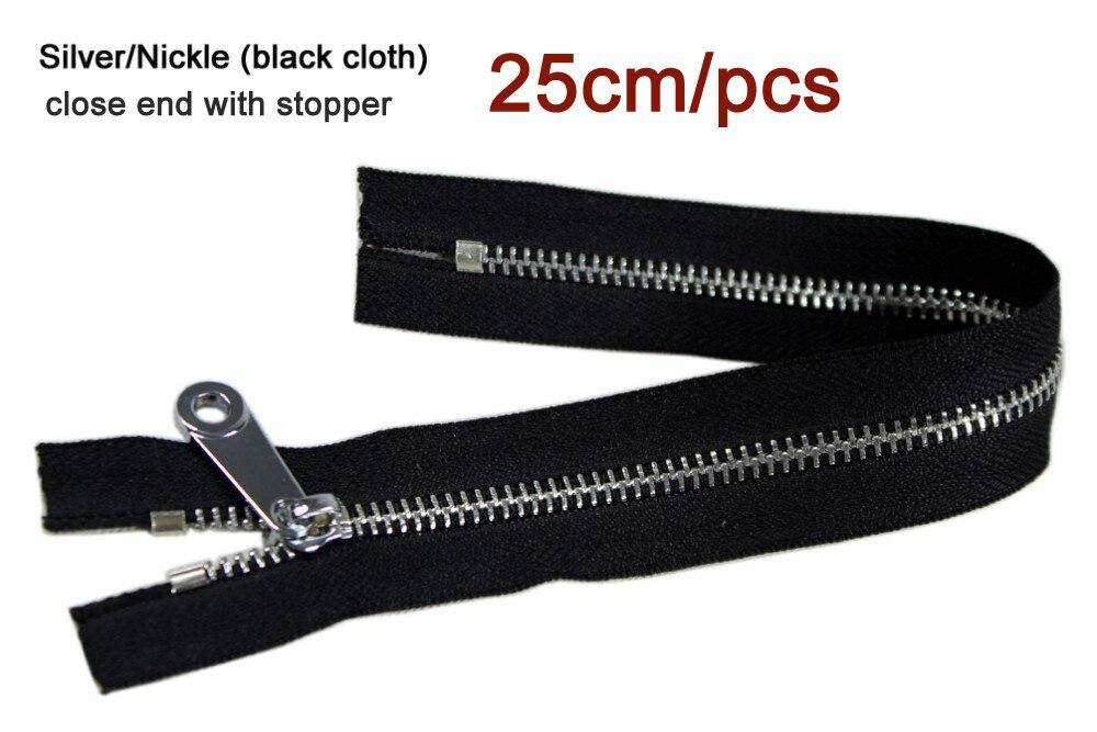 #5 Weiß 25 Cm Zipper Silber Zähne Schwarz Stoff Tuch Metall-reißverschluss Für Nähen Tasche Zipper Für Kleidung Handtasche Schuhe 3 Teile/los Bestellungen Sind Willkommen.