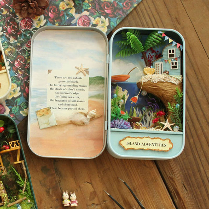 Doll House Diy miniature 3D Wooden Puzzle Dollhouse Miniaturas Furniture House Doll Birthday Gift Toys Island Adventures Q002
