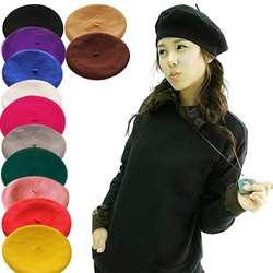 2018 новые женские зимняя шапка берет женский шерсть хлопок смесь кепки 16 Цвет Новый женские шляпы s черный, белый, серый, розовый Boinas De Mujer