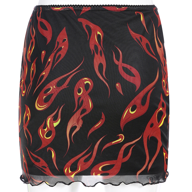 Sweetown Patchwork Mesh Sexy Skirt Harajuku Kawaii Streetwear Flaming Fire Print Skirts Womens Double Layer High Waist Skirt 4