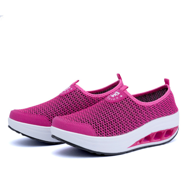 Women casual shoes 2016 hot fashion breathable mesh wedges casual shoes woman
