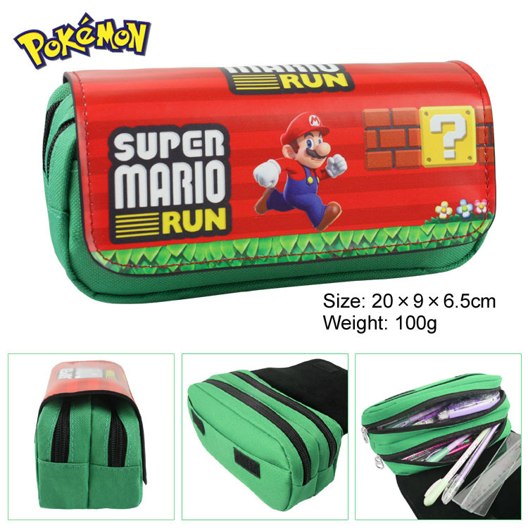Super Mario Canvas Double Zipper Pencil Bag Anime Pencil Case Kids Gift Stationery Container School Supplies black bluter canvas roll up pencil bag anime pencil case kids boy gift stationery school supplies