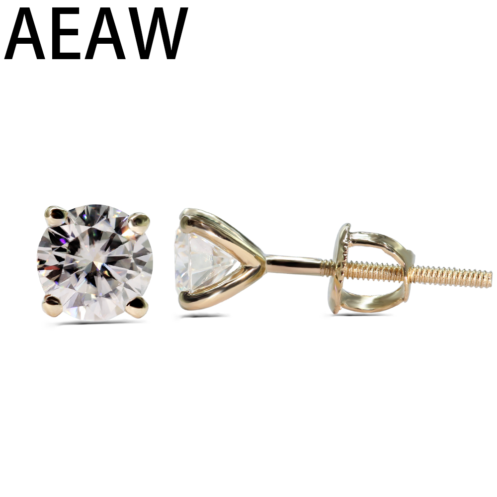 1.0 cttw Round Excellent Loose Moissanite Earrings 14K Yellow Gold Stud Earrings For Women Moissanite Jewelry