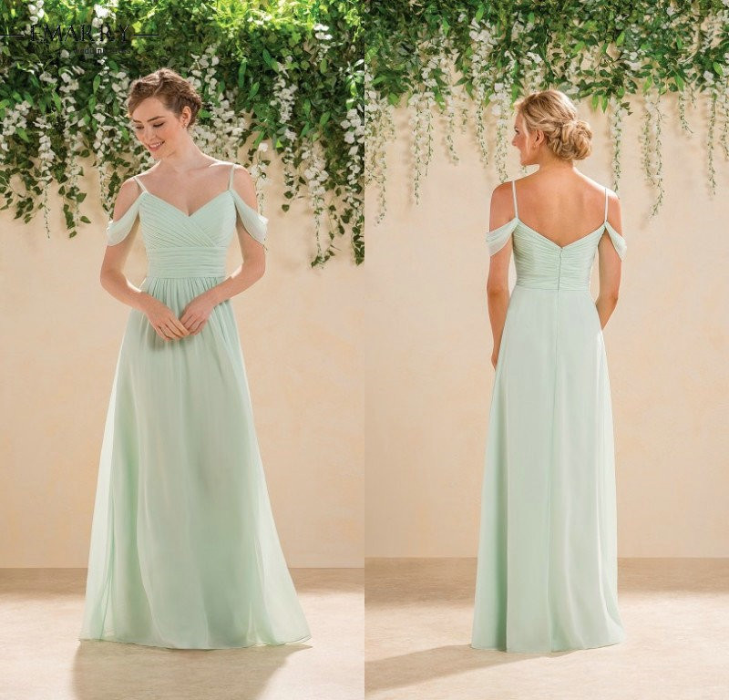 ec266644374 buy Cheap Elegant Wedding Party Bridesmaid Dresses Long Mint Green Chiffon  Off the Shoulder Bridesmaid Gowns Robe de soiree Formal