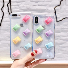 Cute transparent candy phone case For iphone XS MAX XR X soft shell TPU 6 6s 7 8plus Epoxy protective cover