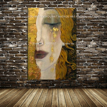 Canvas Painting Golden Tears by Gustav Klimt Modern Oil Quardro Wall Pictures For Living Room Home Decor