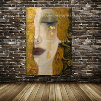 Canvas Painting Golden Tears by Gustav Klimt Painting Modern Oil Painting Quardro Wall Pictures For Living Room Home Decor