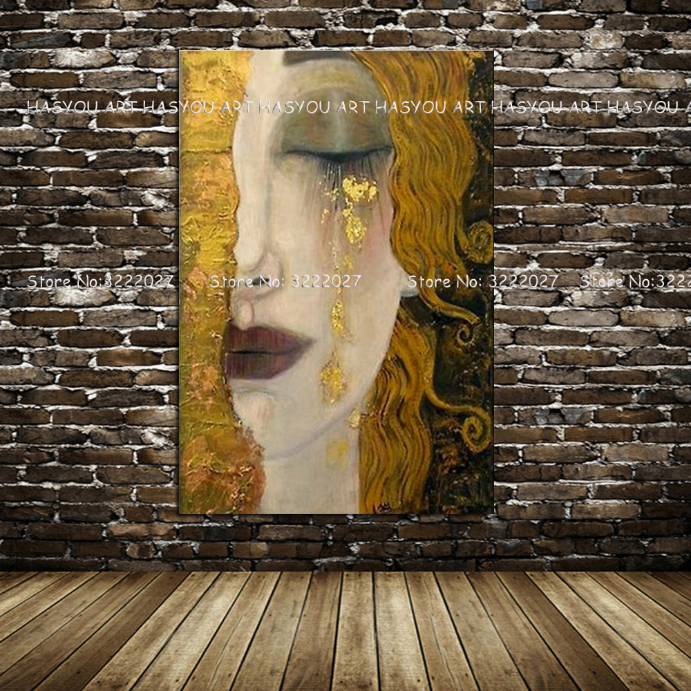 Leinwand Malerei Goldene Tränen durch Gustav Klimt Malerei Moderne Ölgemälde Quardro Wand Bilder Für Wohnzimmer Wohnkultur