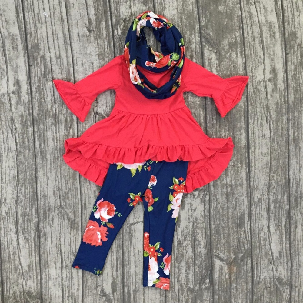 new arrival baby Fall/winter girls 3 pieces sets scarf ruffle boutique children red navy cotton clothes floral dress top outfits free ship fall winter long sleeve children clothing sets infant girls ruffle outfits knitted cotton newborn baby clothes f110
