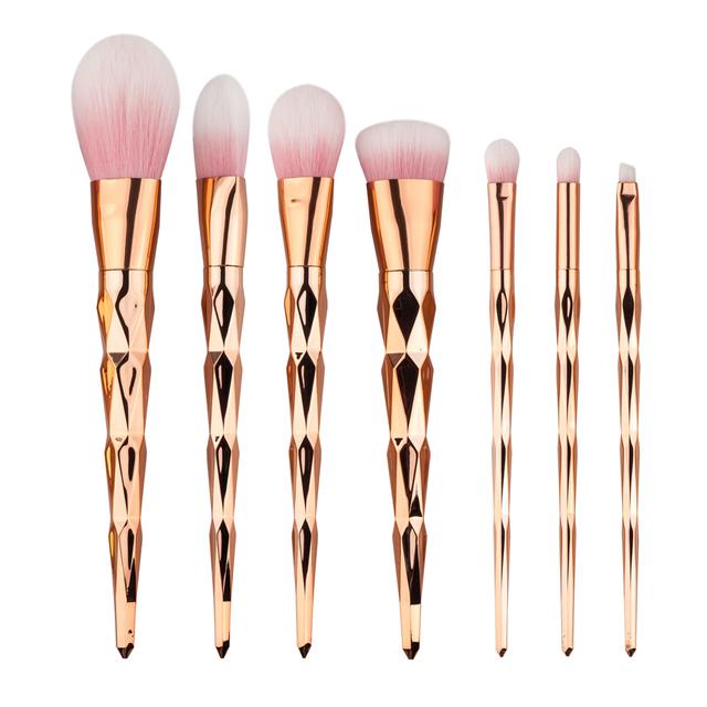 7 unids Pinceles de Maquillaje Conjunto de Diamantes de oro manejar Cosmética Fundación Polvo Colorete Brocha Eyshadow belleza herramientas kits