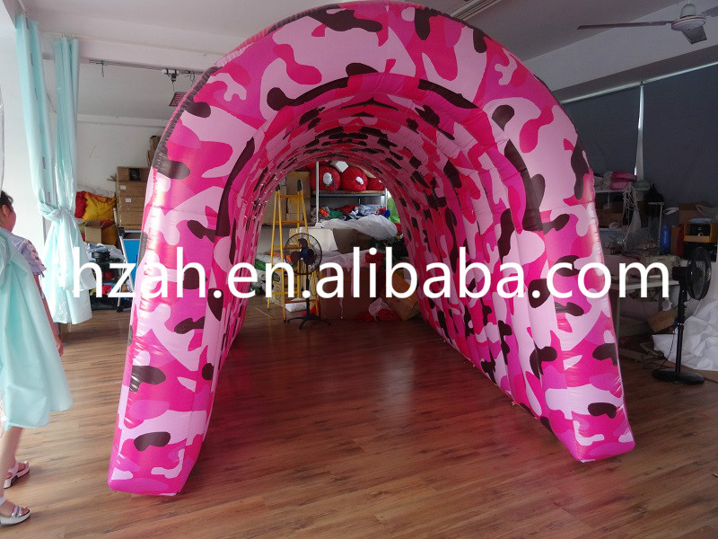 Pink Camouflage Inflatable Tunnel Tent for Advertising Decoration inflatable cartoon customized advertising giant christmas inflatable santa claus for christmas outdoor decoration