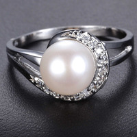 2234 Pearl Size White Gold Ring