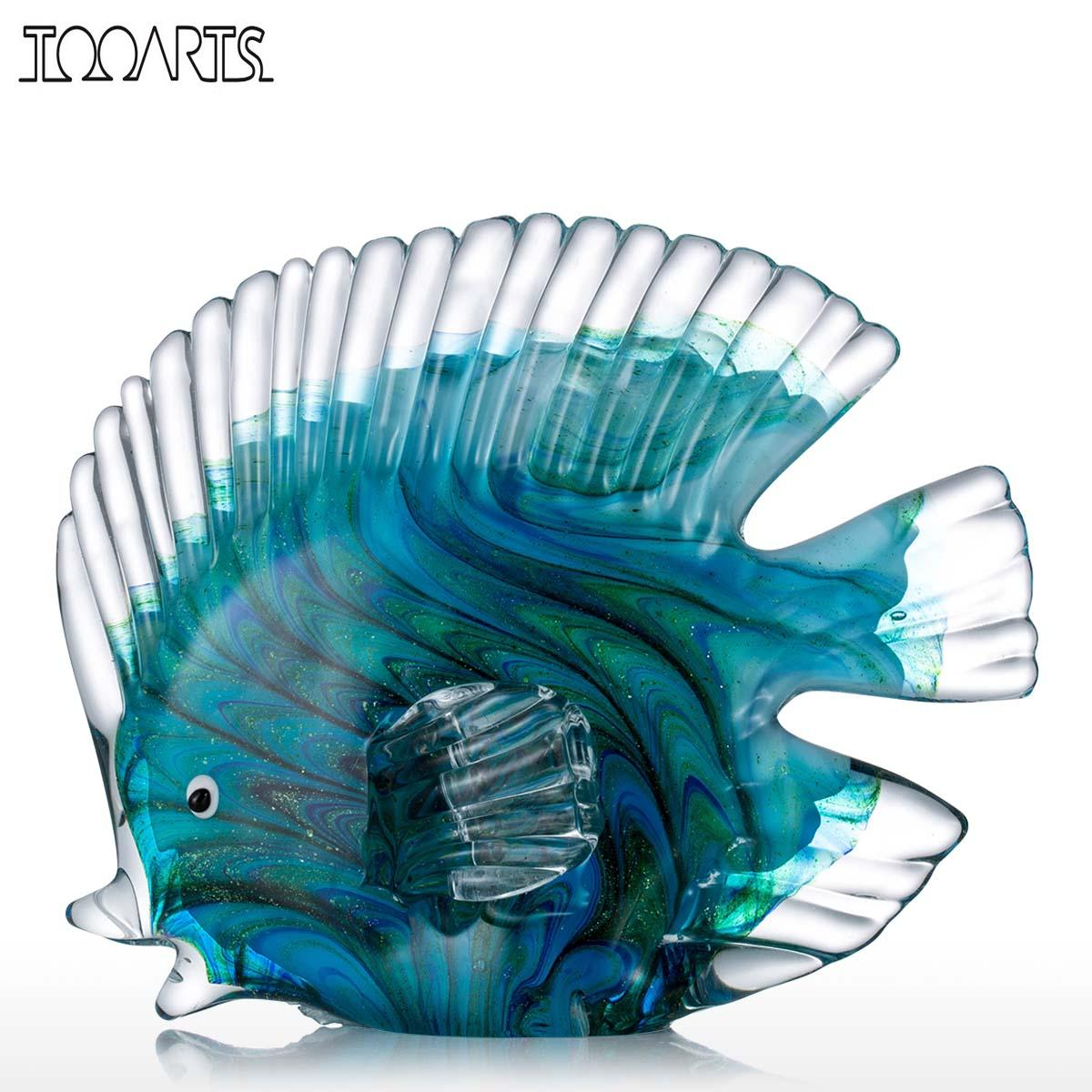 Tooarts blue tropical fish glass sculpture glass fish for Escultura mural