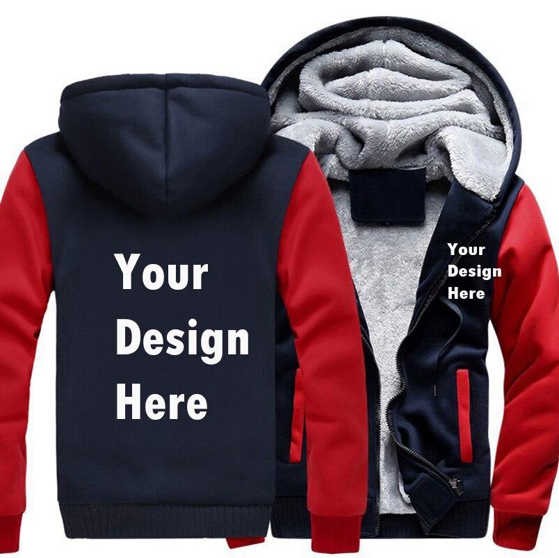USA taille S-5XL personnaliser impression logo hommes Hoodies manteau hiver polaire épaissir bricolage votre conception Sweatshirts à capuche livraison directe