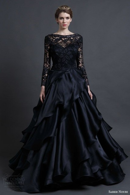 Vintage Gothic Black Long Sleeves Lace Wedding Dresses 2016 1950s Non White Ceremoney Y Bridal Gowns