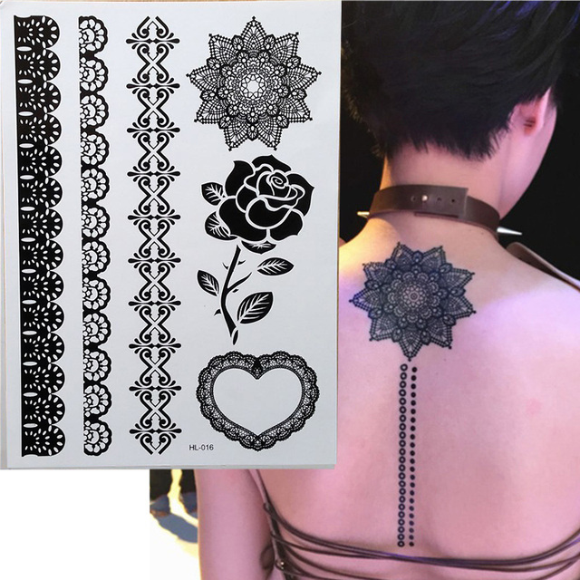 1 Piece Black Roses Henna Temporary Tattoo For Lace Hands Inspired