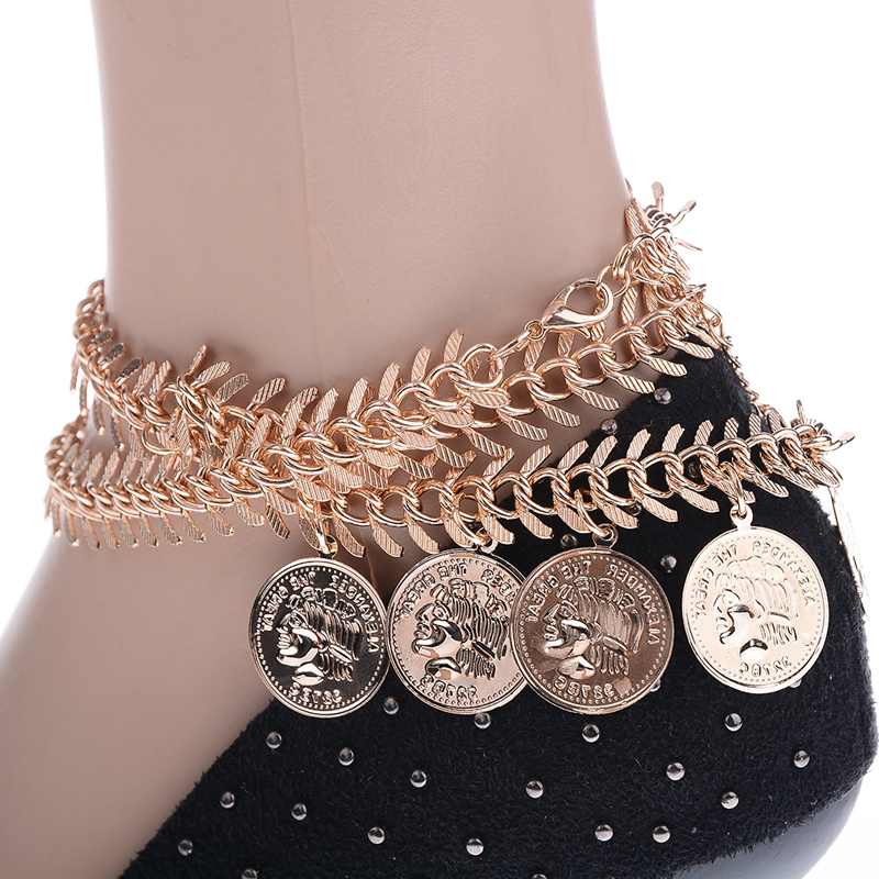 Retro Bohemian Turkish Coin Gold Color Antalya Anklet Gypsy Beachy Coachella Tassels Vintage Fashion Foot Accessory Jewelry