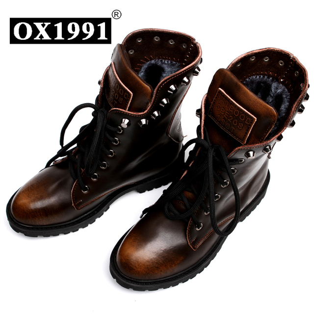 Fashion Spring Genuine Leather Skull Ankle Women Boots OX1991 Brand Quality Black Women shoes #8311