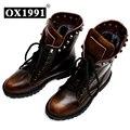 La moda de Primavera de Cuero Genuino Cráneo Mujeres Botines OX1991 Negro Marca de Calidad zapatos de Mujer #8311