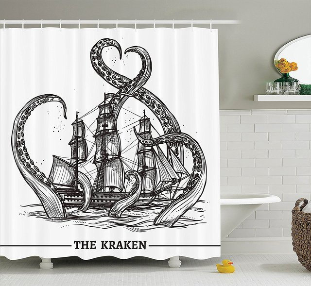 Giant Octopus Catches Old Style Sail Ship Monster Waterproof Polyester Fabric Shower Curtain White Curtains