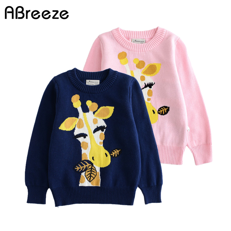 1-8 years toddler girls kids sweaters O neck pullover 100% cotton cute cartoon dear qual ...