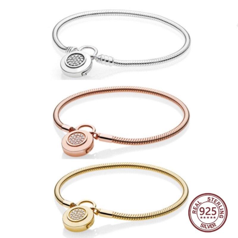 100 925 sterling silver 1 1 Genuine Glamour 14K Gold Rose Gold Sliding Basic Bracelet Fit